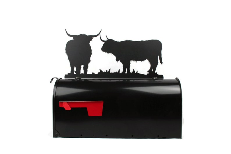 Ranch Mailbox Top Metal Highland Cattle Mailbox Top Highland Cattle Metal Mailbox Topper