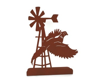 """Metal Windmill and Pheasant Stand 14.75"""" tall Powder Coated"""