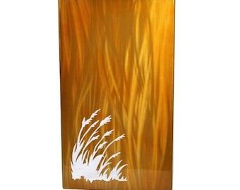 Wheat Painting, Aluminum Art Panel, gift for her, modern farmhouse art, modern wall art, wheat field painting, modern lobby decor, lighting