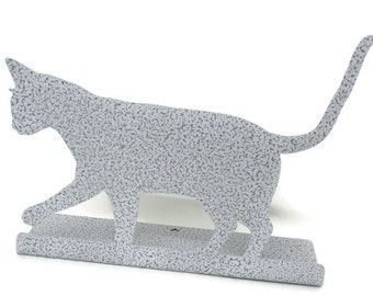 """Magnetic Steel Standing Cat Sign -- 11"""" wide"""