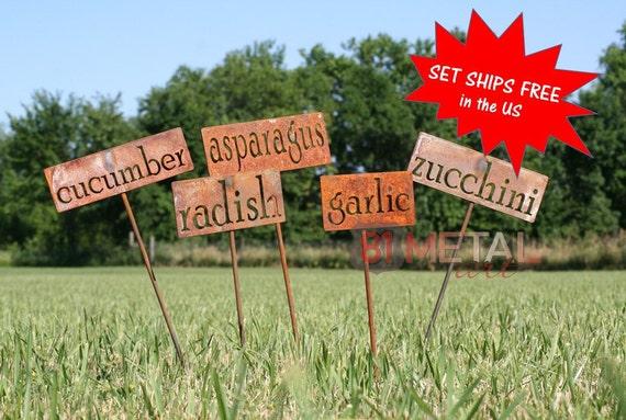 Set Of 12 Classic Metal Garden Markers Vegetable Garden | Etsy