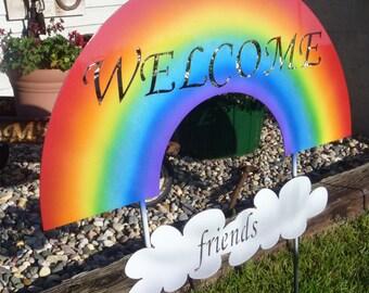 "Welcome Friends Large Steel Metal Rainbow Yard Stake Sign -- 30"" wide, adjustable height"
