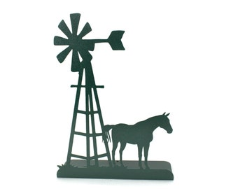 """Metal Windmill and Horse Stand 14.75"""" tall Powder Coated"""
