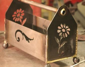 Tool Caddy, flower planter, magazine rack, metal flower planter box, Steel Toolbox, steel box, storage caddy, storage tote, display caddy