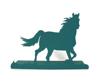 Magnetic Running Horse Tabletop Standing Metal Sign -- 12 Inches Wide