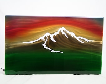 Mountain Sunset Painting, Aluminum Wall Art, gift for her, mountain painting, modern wall art, office lobby wall decor, air brush painting