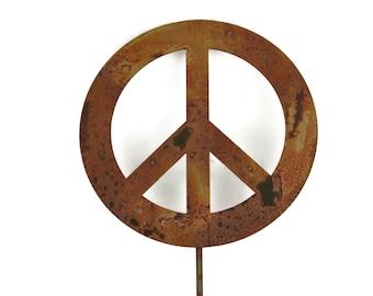 Metal Peace Sign Garden Stake, yard sign, peace sign, peace stake, peace garden sign, garden peace art, peace garden art, peace sign decor