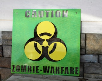 Metal Caution Sign: Zombie Warefare Apocalypse Green Print Bio-Warfare Metal Sign, zombie decor