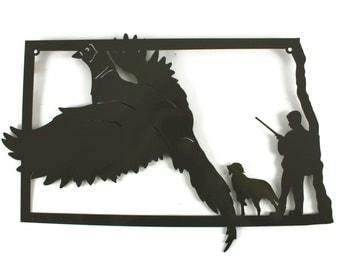 North Dakota Pheasant Hunting Metal Wall Art Sign -- hunting sign, pheasant hunter, hunter and dog, pointer dog, fall