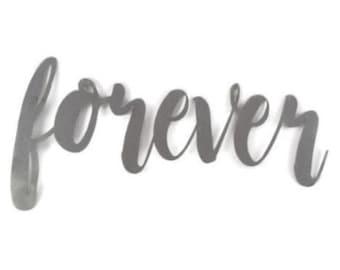 forever script, forever raw metal sign, metal word art, steel word art, steel script cursive font lettering, wedding gift sign, forever sign