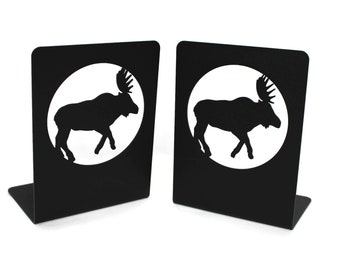 Steel Powder Coated Moose Cabin Style Woodland Set of Two Bookends Library Shelf Tabletop Decor