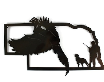 Nebraska Pheasant Hunting Metal Wall Art Sign -- hunting sign, pheasant hunter, hunter and dog, pointer dog, fall