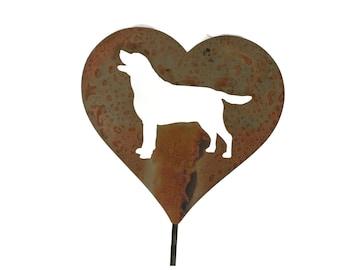 Lab Dog Heart Garden Stake, pet memorial, border collie labrador golden retriever, dog stake, rainbow bridge