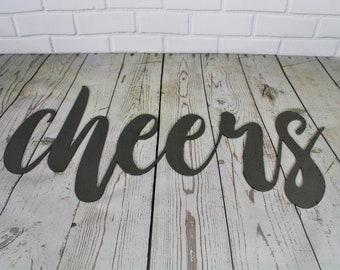 cheers script, cheers metal sign, metal word art, steel word art, steel script cursive font, bar sign, cheers sign, diy bar word wall art
