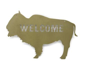 "Metal Buffalo Welcome Sign, Western Buffalo Bison Decor, Cabin Welcome 16"" wide"