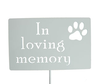 In loving memory Pet Memorial Paw Print Custom Metal Garden Stake Marker Sign 23 to 33 Inches Tall