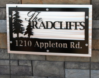 Woodland Name and Address Sign, Rustic Address Sign, Metal Address Sign, Address Yard Stake, Cabin Address Sign, Custom Address Sign