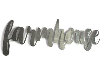 farmhouse script, farmhouse metal sign, metal word art, steel word art, steel script cursive font, DIY farmhouse sign, rustic farm style