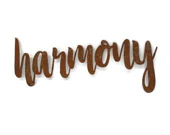 harmony script, harmony metal sign, metal word art, wedding gift, steel script cursive font, DIY harmony sign