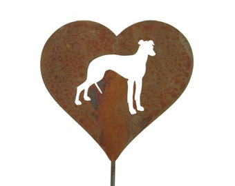 Greyhound Dog Heart Garden Stake, pet memorial, pet dog stake, garden gift idea