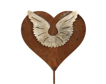 Metal Angel Wings Heart Garden Stake Memorial Sign Stainless and Rusted Steel 23 Inches Tall