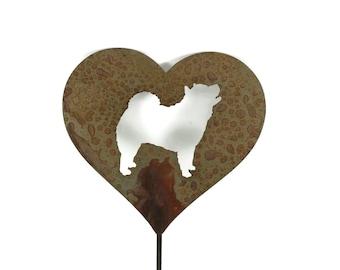 Chow Chow Dog Heart Garden Stake, pet memorial, dog stake, rainbow bridge