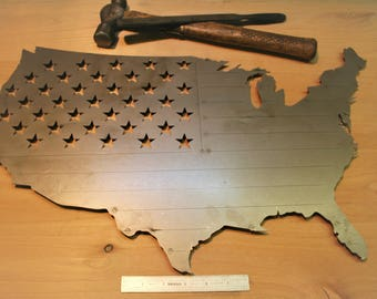 United States US flag bare metal paint project, DIY gift idea, patriotism merica America, usa sign, metal flag usa shaped us flag, diy flag