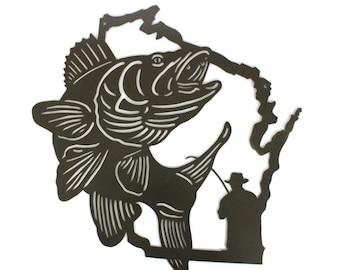 Wisconsin Walleye Fishing Sign, Outdoorsman Fisherman Metal Sign
