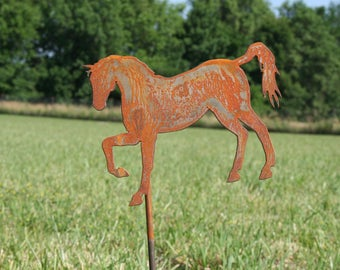 Metal Horse Stake, Rusty Horse Yard Art, horse yard sign, outdoor horse, rustic horse sign, horse stake, horse collector, metal horse sign