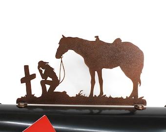 Praying Cowgirl & Horse Metal Mailbox Topper