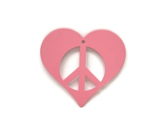 """Metal Heart Peace Sign Ornament 3"""" wide"""
