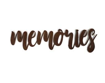 memories script, memories metal sign, metal word art, memories sign, steel script cursive font, DIY memories sign, gallery wall word art