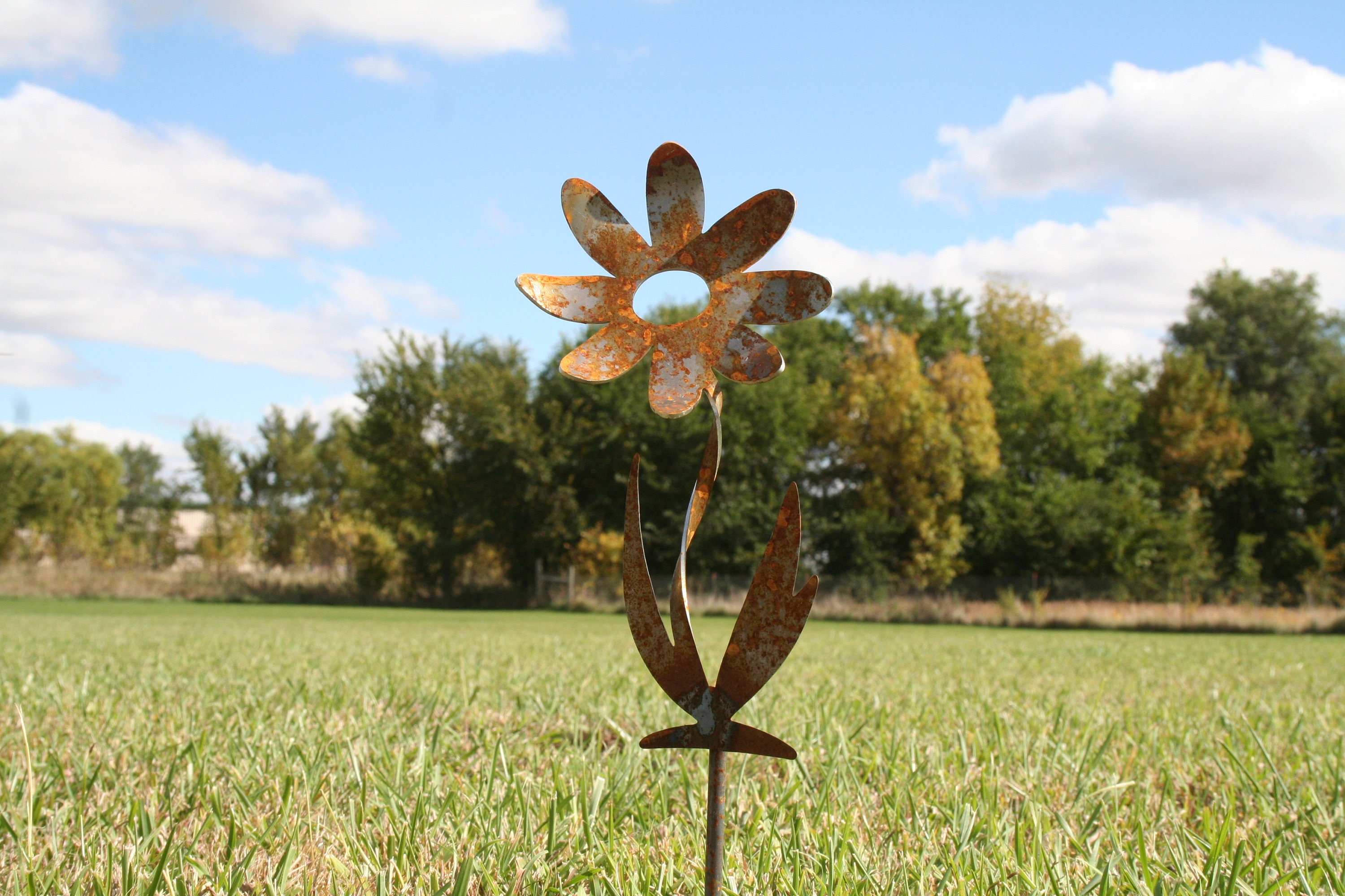 Twisted Metal Flower Stake, Garden Gift, Rustic Flowers, Gardening, Outdoor  Flower, Flower Yard Stake, Flower Garden Stake, Garden Art