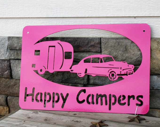 Featured listing image: Happy Campers Sign, campground sign, camping sign, rv gift, metal sign, pink rv sign, vintage camper sign, teardrop camper, 50s style