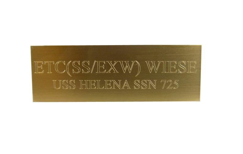 Brass Plaque ADD-ON Item Trophy Plaque 1x3 Brass image 0