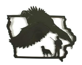 "Iowa Pheasant Hunting Sign, Outdoorsman Hunter Metal Sign 20"" Wide"