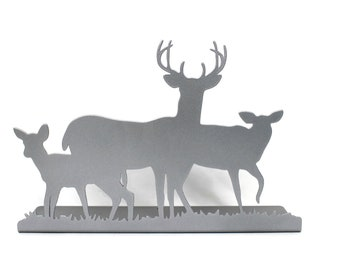Magnetic Steel Standing Deer Buck and Doe Family Sign -- 12 Inches Wide