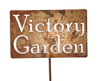 Victory Garden Metal Garden Stake Sign, Inspirational Garden Sign, War Garden, Food Garden, fruits and vegetables, self reliant gardening