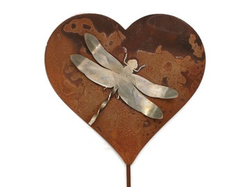 Metal Dragonfly Heart Garden Stake Sign Stainless and Rusted Steel 23 Inches Tall