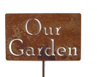 Our Garden Metal Garden Stake Sign, Small to XL
