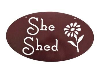 Metal She Shed Sign, She-Shed, Garden Potting Planting Storage Workshop Greenhouse Sign