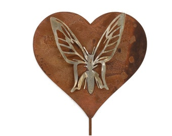 Metal Butterfly Heart Garden Stake Sign Stainless and Rusted Steel 23 Inches Tall