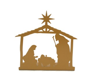 "Metal Nativity Scene 6.75"" tall — Powder Coated Durable Steel Christmas Decoration"
