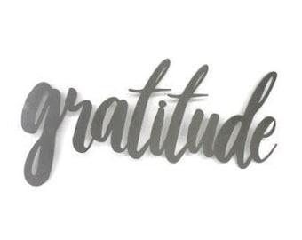 gratitude script, gratitude metal sign, metal word art, wedding gift, steel script cursive font, DIY gratitude sign