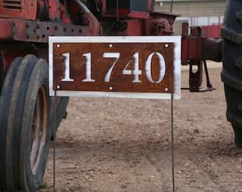 Rustic Metal Address Number Sign, House Number on Yard Stake, Address Yard Sign, House Number Yard Sign, Street Address Plaque