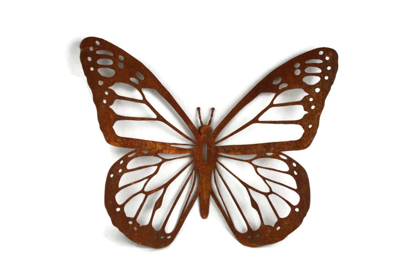 "Monarch Butterfly Rustic and Powder Coated Steel Wall Art Single 15"" Butterfly"
