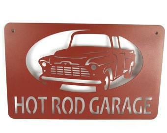 """Metal Chevy Pickup Sign -- HOT ROD GARAGE  22"""" wide"""