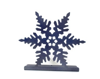 Metal Powder Coated Snowflake Standing Magnet Sign Board Photo Holder Winter Christmas Decor