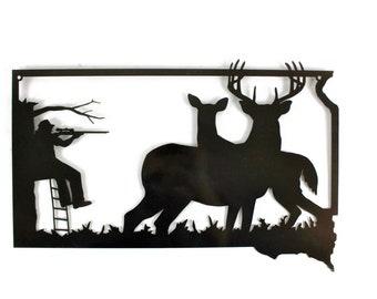 South Dakota Deer Hunting Sign, Deer Hunter Sign, Whitetail Deer Hunting Decor