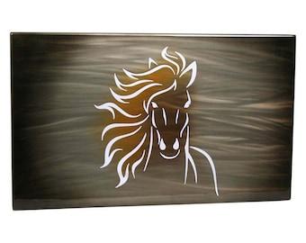 Horse Painting, Aluminum Art Panel, lighted wall decor, modern wall art, custom airbrush, running horses, lobby wall art, office wall art